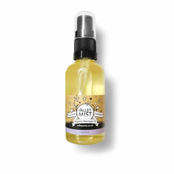 spray pump organic massage oil for babies with soothing frankinsence and lavender